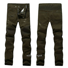 France Men Style Vintage Motorcycle Army Green Stretch Biker JEANS B920C S 28-38