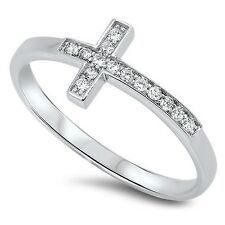Plain Cross CZ Ring, 925 Sterling Silver, Catholic, Religious, Symbol, Love, Mom
