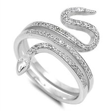 Snake CZ Ring, 925 Sterling Silver, Animals, Nature, Healing, w/FREE Box, Energy