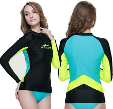 New Women Rash guards Long Sleeve Sun Shirts UV Surf Swim Top Lycra Swimwear