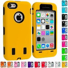 For iPhone 5C Color Hybrid Defender Case Cover with Built in Screen Protector