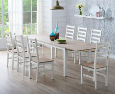 Dining Table and Chairs Set Dark Light Pine Wood Table with Extending and Bench