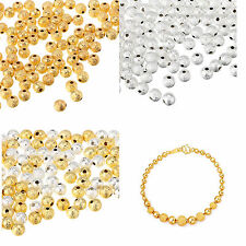 4/ 6/ 8/ 10mm Acrylic Stardust Metallic Glitter Spacer Loose Beads Gold / Silver