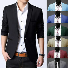 Men's Fashion Slim Fit One Button Suit Korean Blazer Jacket Coat Casual Top New