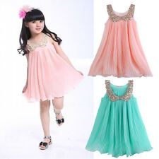 Cute Kids Baby Girls Sequins Chiffon Pleated Sundress Princess Party Dress 3-8Y