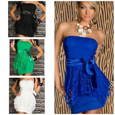 Womens Dress Bodycon Sexy Lace Strapless Cocktail Ball Clubwear Evening 4colors