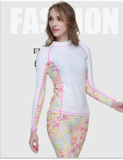 New Women Rash guard Long Sleeve Sun Shirts Uv Swimwear Surf Swim Top Lycra