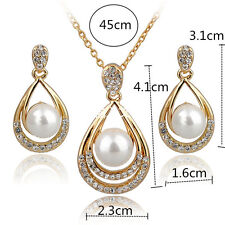 Women Fashion 18k Gold Silver Crystal Pearl Earrings Necklace Jewelry Gift Set