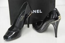 New Chanel Black Patent Leather Gold CC Logo Heels Pumps Pep toe Shoes w  Bag 40