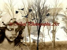 Winter Flight Surreal Angel Original Signed Handmade Matted Picture Art A769