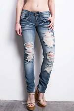 Machine Jeans Destroyed Torn Ripped Womens Low Rise Skinny Straight Leg Skinnys