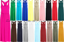 NEW LADIES MAXI TOGA RACER BACK DRESS WOMEN'S LOOK LONG PUFF BALL PLUS SIZE 8-24