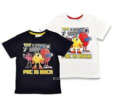NEW Boys Retro Games Pacman Character 'Pac is Back' T Shirt Navy White Ages 3-8y
