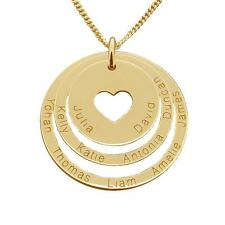 Solid 9K Gold Personalized Cut Out Heart Double Disc Family Pendant Necklace