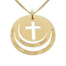 Solid 9K Gold Personalized Cut Out Cross Double Disc Family Pendant Necklace