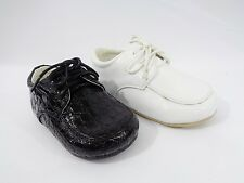 New Baby Boy Shoe Black & White Croco Pat Lace-up Formal/Casual/Church Sizes 2-6