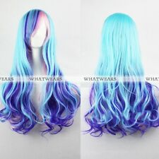 Women Long Hair Wigs Mixed Multi-Color Curly Wavy Cosplay Party Full Wigs MFR
