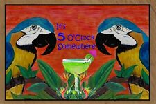 It's 5 O'Clock Somewhere Parrot Floormat  20 ounce loop style from Original Art