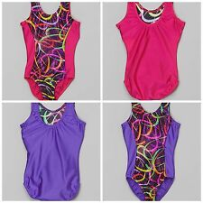 NEW Sparkle Rainbow Confetti Foil Solid Back Dance Gymnastics Leotard Child Size