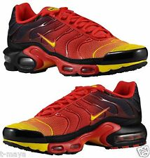 NIKE AIR MAX PLUS TN MEN's MESH UNIVERSITY RED - BLACK - YELLOW NEW AUTHENTIC
