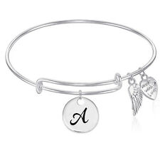 Wire Bangle Bracelet with INITIAL Charm and Angel Wings Charm GIFT BOXED
