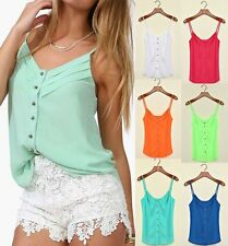 Summer Women Casual Loose Chiffon Spaghetti Shirt Blouse Strap Top Vest Tank #WB