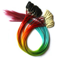 12pcs Clip in Multicolour Grizzly Feather Hair Extensions Iridescence Color PP66