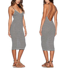 Women Summer Sexy V Neck Backless Strip Bodycon Cocktail Skirt Long Maxi Dress