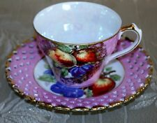 ROYAL HALSEY LUSTERWARE FINE CHINA CUP & RETICULTD SAUCER GOLD PINK, FRUITS