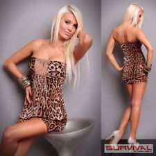 Womens Animal Print Dress Size 8-10 Sexy Club Wear Party Strapless Sequin Top