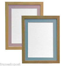 Beech & Oak Large Photo Picture Frames with Pink or Light Blue Grey Mounts H7