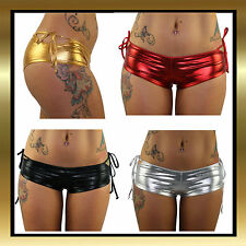 Juicee Peach Tie Side Booty Metallic Booty Pole Dancing/Dance Shorts Hot Pants