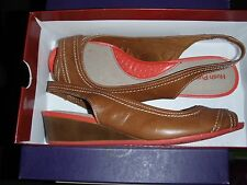 Hush Puppies Candid Sling back peep toe  Sandal in brown lovely NIB XWIDE 9, 9.5