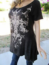 Vocal Plus Size Mineral Wash Crystals Pearls Cross Tunic Shirt Sexy 1X 2X 3X