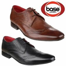 Base London SEW Mens Leather Smart Casual Vintage Oxford Brogue Shoes Brown