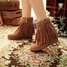 Womens Faux Suede Fringe Tassel Moccasin Shoes Wedge Heel Ankle Boots US 4-10
