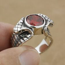 Solid 925 Sterling Silver Red CZ Stone Cobra Fashion Ring 9K008 US Size 7.5~13.5