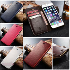 New Genuine Real Leather Card Holder Flip Wallet Case Cover for iPhone/Samsung