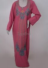 SALE Egyptian Cotton Embroidered Galabeya Abaya Islamic Brink Pink Jilbab Kaftan