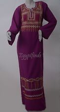 Egyptian Cotton Embroidered Galabeya Abaya Islamic Dress Purple Jilbab Kaftan