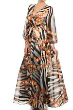 ANIMAL ZEBRA CHAIN PRINT CHIFFON LONG FULL SWEEP SKIRT TIE WRAP MAXI DRESS GOWN