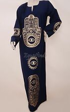 Egyptian Cotton Galabeya Abaya Fatima Hand & Evil Eye  Dark Blue  Jilbab Kaftan