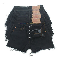 VINTAGE LEVI'S 501 DENIM SHORTS BLACK HIGH WAISTED HOTPANTS 4 6 8 10 12 14 16