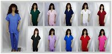 Medical Nursing Men Women Solid Scrub Set Top Pants Hospital Clinic Sizes XS-2XL