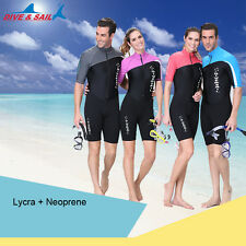 New Surf Short Sleeve Rash Guard Scuba Suit Swimwear Activewear Dive JumpSuit