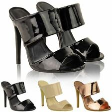 LADIES WOMENS HIGH HEEL STILETTO BACKLESS PEEP TOE BARELY THERE SANDALS SIZE