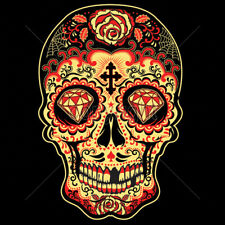 Day Of The Dead Sugar Skull Diamonds Pop Culture Red & Gold Design T-Shirt Tee