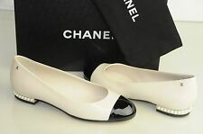 $1075 New Chanel White Patent Leather PEARLS CC Ballerina Ballet Flats Shoes 40