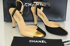 $995 New Chanel Beige Black Gold Leather Suede Ankle Strap CC Logo  Shoes 38