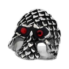 """Surgical Steel Biker Ring Gothic Skull Armor Red Cz Eyes 1 3/16"""" wide, size 9-15"""